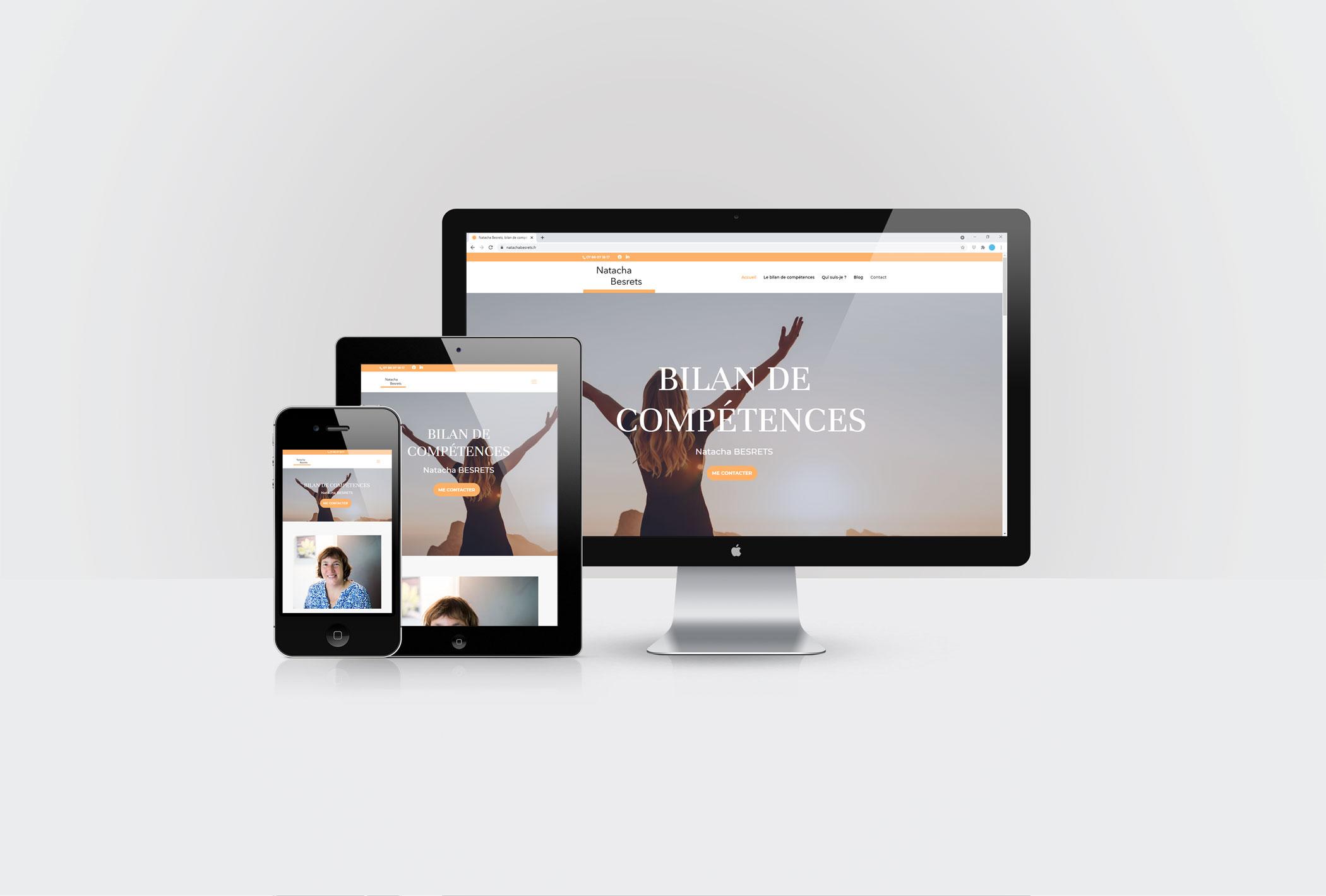 Le site de Natacha Besrets fait lors de la formation CréaPAGES Créer et animer son site internet en 3 semaines